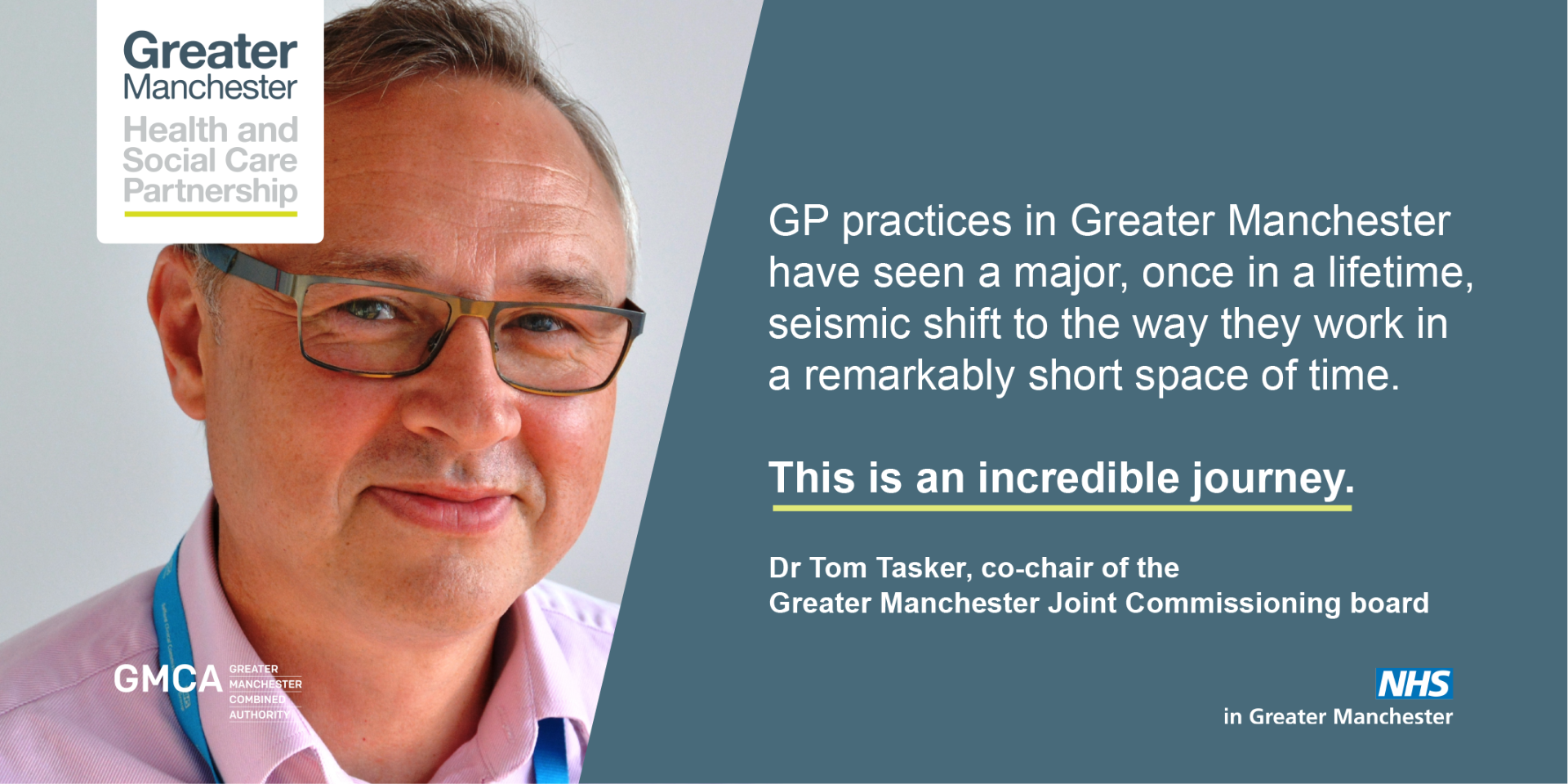 Quote from Dr Tom Tasker, chair of Salford CCG and co-chair of the Greater Manchester Joint Commissioning Board.
