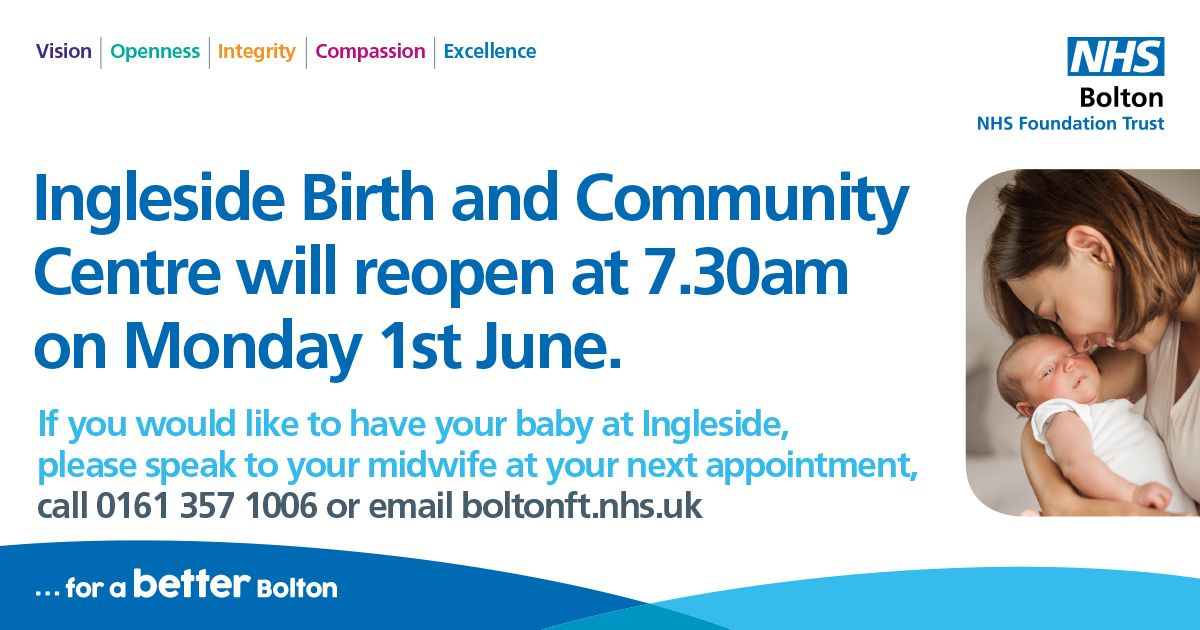 Ingleside Birth and Community Centre re-opens for births. We are pleased to announce that from 1st June at 7.30am we will be able to offer women the option to have their baby at Ingleside Birth and Community Centre in Salford or at home if they wish.